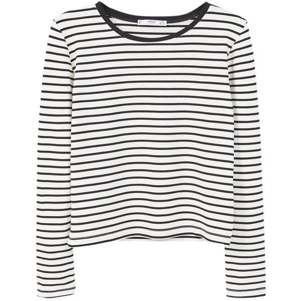 Mango Striped T-Shirt, Black (£9.99) ❤ liked on Polyvore featuring tops, t-shirts, shirts, striped sleeve shirt, long sleeve tops, striped tee, long sleeve tee and round neck t shirt