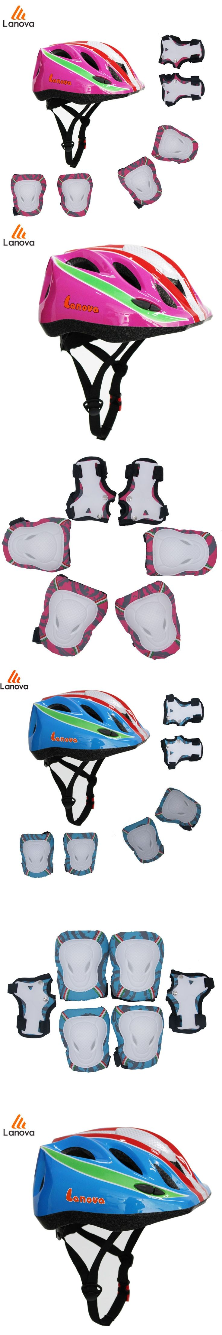 LANOVA 7Pcs/set Cycling Skating Skateboard Protector Helmet Elbow Knee Pads Wrist Sport Children Bike Bicycle Roller  safety