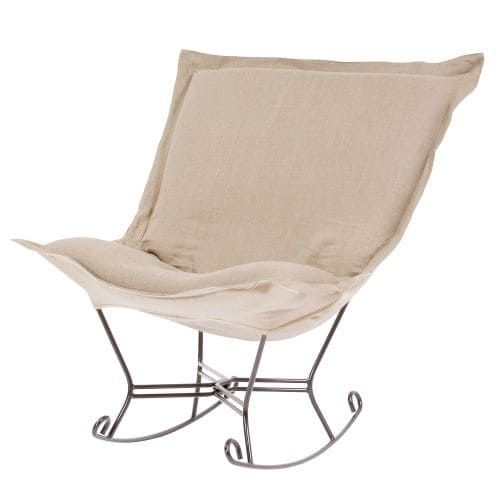 Howard Elliott Prairie Scroll Puff Rocker with Titanium Frame 40 Tall Linen Upholstered Rocking Chair with Titanium Frame, Multi