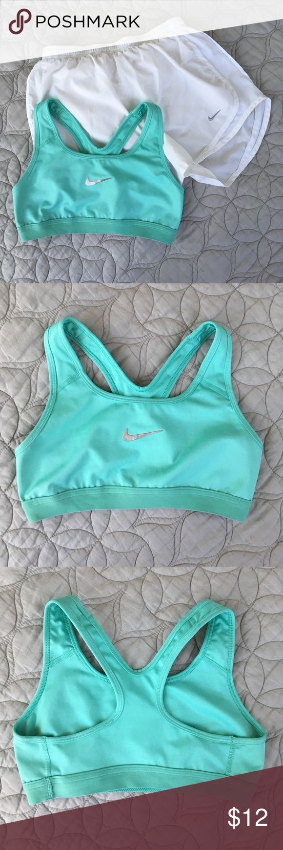 Nike sports bra ✔️ Tiffany blue Nike sports bra with silver swoosh on front. Dri-fit material. Size small. Perfect for a gym workout, running, or any cardio. Nike Intimates & Sleepwear Bras