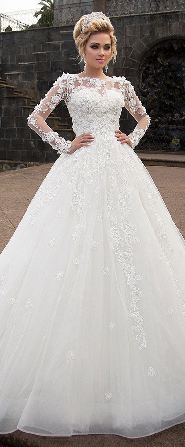 Marvelous Tulle & Organza Bateau Neckline Ball Gown Wedding Dress With Lace Appliques & 3D Flowers