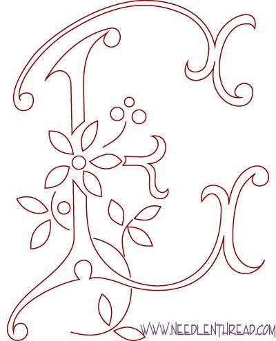 Patrón Gratuito para los monogramas bordados a mano: la letra E