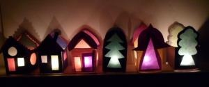 free printable candle paper house templates / Teelicht - Haus Schablonen