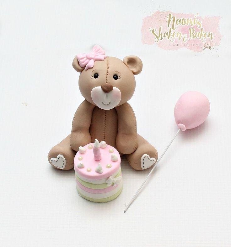 Edible Teddy Bear Cake & Balloon Fondant cake Topper 8-10cm #Birthday