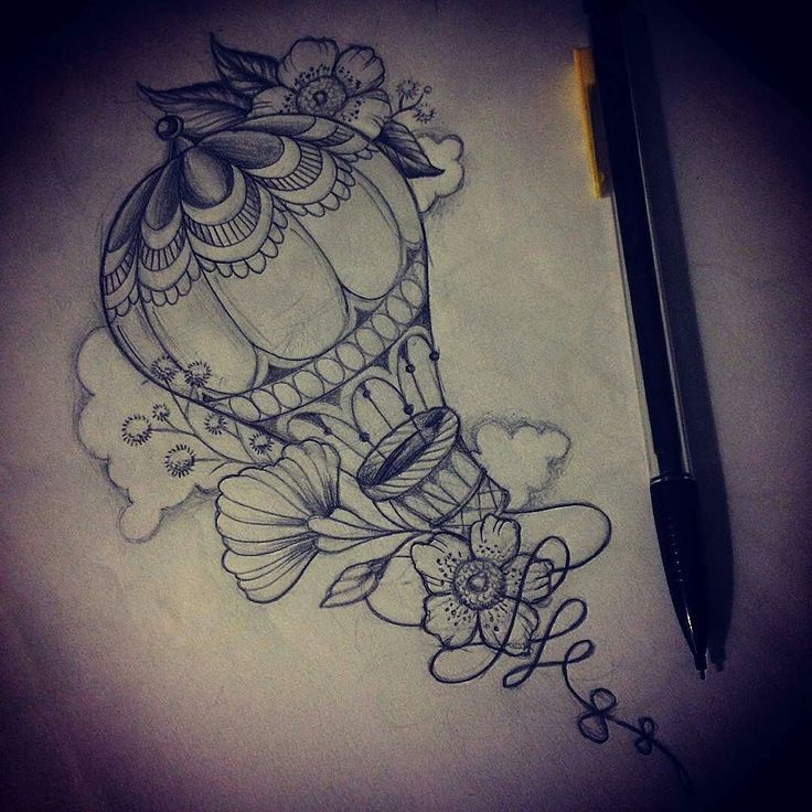 Cool #tattoo #design #illustration by @sola_blackmeat (IG) of a #hotairballoon…
