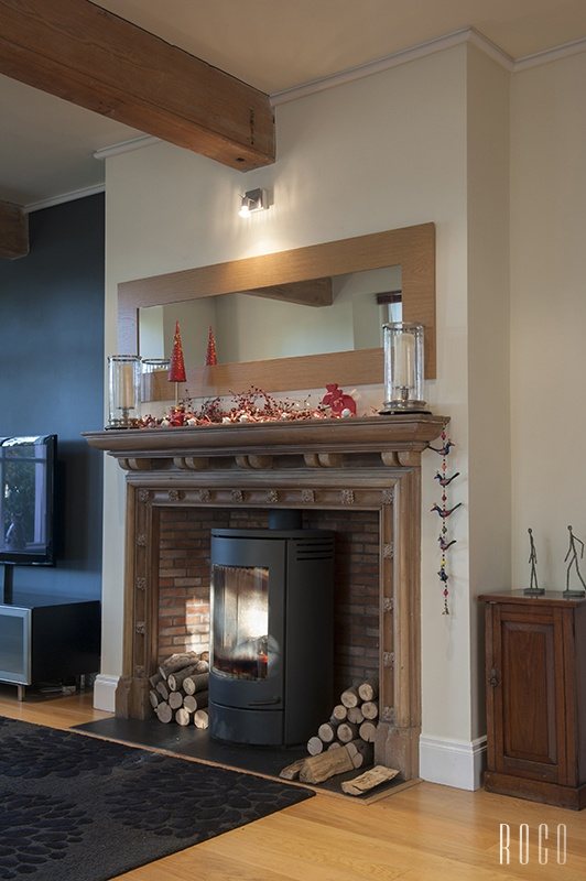 Living Room Stove Fire With Christmas Decorations