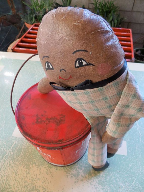 Antique 1930s Humpty Dumpty Doll: Adorable Stuffed Egg Figure in Pastel Green Plaid Suit, Ribbon Bow Tie