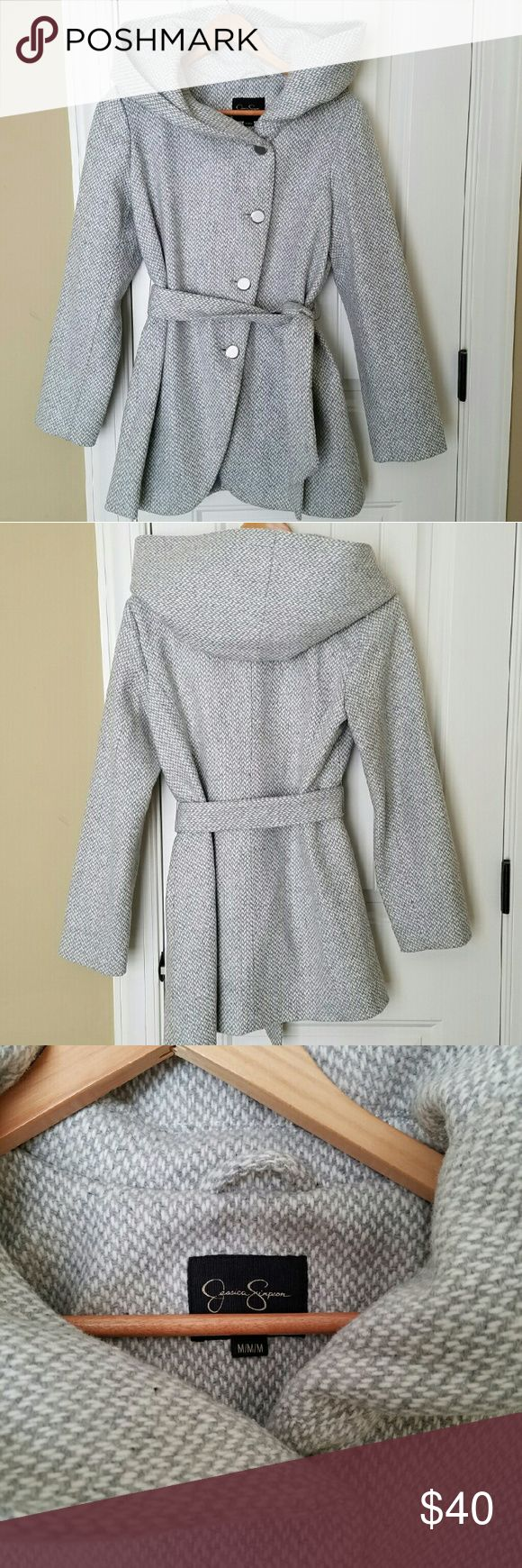 Jessica Simpson Wool Blend Hooded Coat NWOT coat by Jessica Simpson. Lovely cape hood amd tie waist. Single breasted buttons. This is great for the cold as it is quite heavy. Jessica Simpson Jackets & Coats