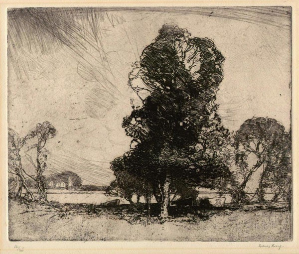 Sydney Long.  Etching & drypoint, depicting a landscape with cattle under a large tree.