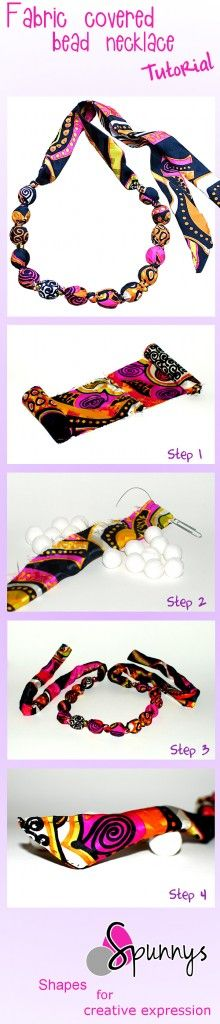 fabric knotted bead necklace tutorial DIY