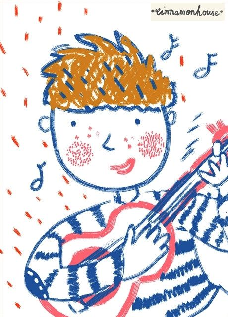 Boy with the guitar print by cinnamonnhouse on Etsy