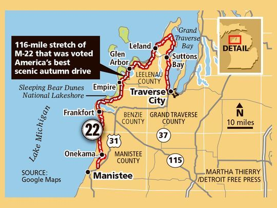 116-mile stretch of M-22 that was voted America's best scenic autumn drive