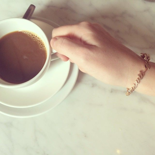 Morning coffee wearing a #UNIQD bracelet. No matter what your  favorite quote is, make sure you turn it into a personalized bracelet to wear every day!