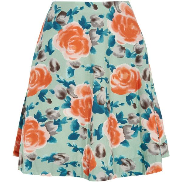Marc by Marc Jacobs Jerrie Rose floral-print cotton-poplin skirt featuring  polyvore fashion