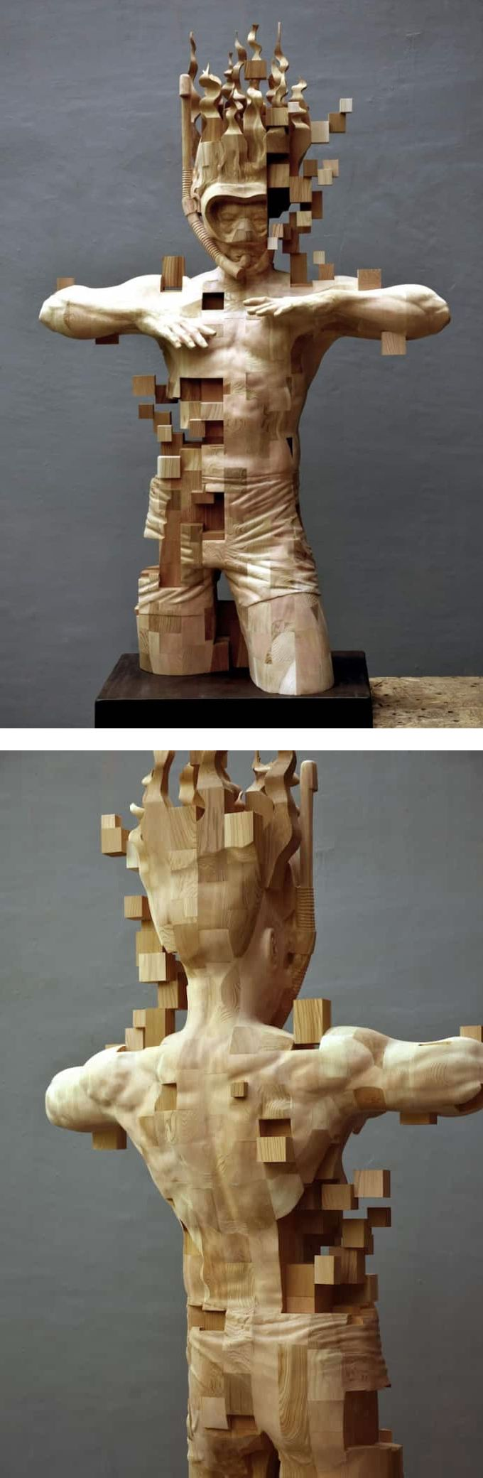 Best Sculptural Woodcarving Images On Pinterest Wood - Taiwanese sculpture uses wood to create sculptures of people effected by pixelated glitches