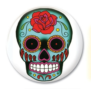 Badge Calavera Tattoo Mexican Skull Rock'n'Roll Day of the Dead
