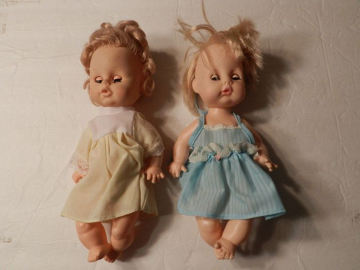 "Two 10"" Eeegee Plastic Dolls Rubber Head Sleep Eyes 