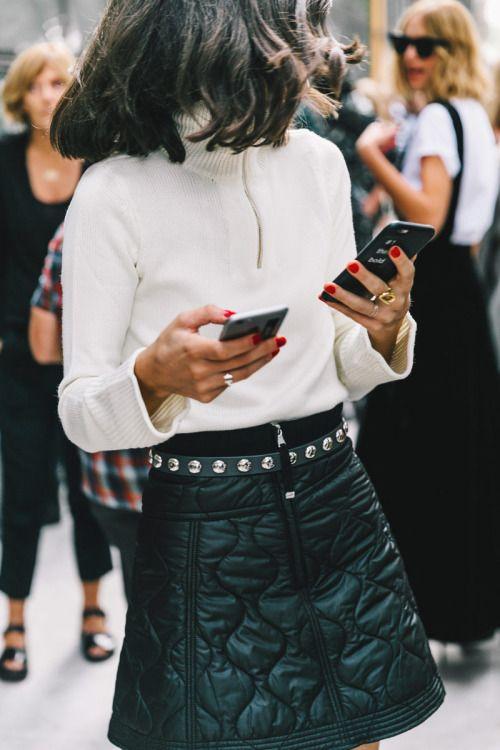 White Top & Black, Belted Quilt Miniskirt.