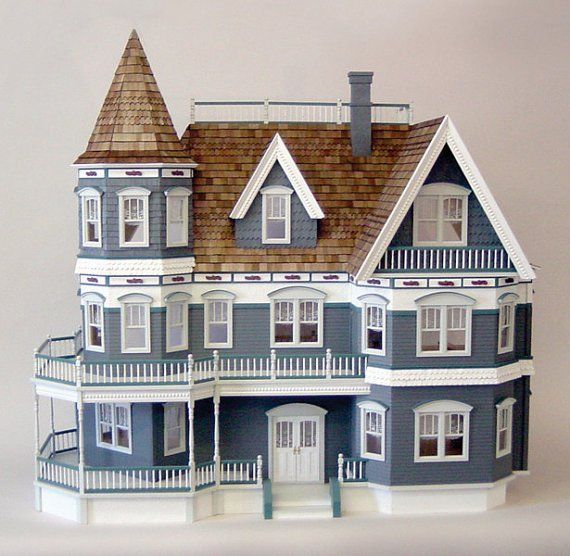 The Queen Anne Victorian Mansion Wooden Dollhouse Kit