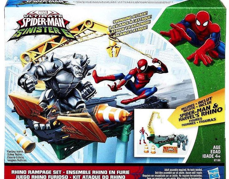 ULTIMATE SPIDER-MAN Sinister 6 Rhino Rampage Playset 2 Action Figures Marvel NEW #Hasbro