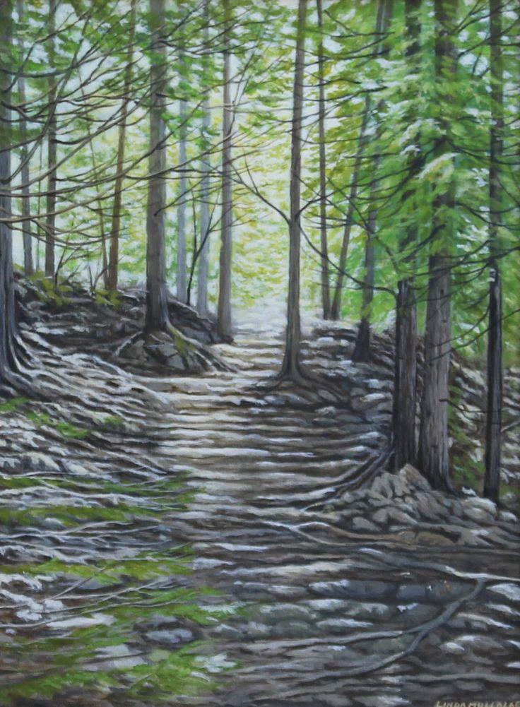 """Cup & Saucer Trail"" - Acrylic 16 x 12 www.lindamullola.com"