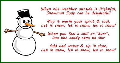 Click through for 4 different snowman soup poems.