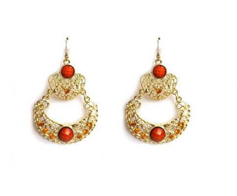Dlhé chandelier náušnice oranžové. Chandelier vintage earrings. #womanology #jewelry #accessories #vintageearrings #chandelierearrings