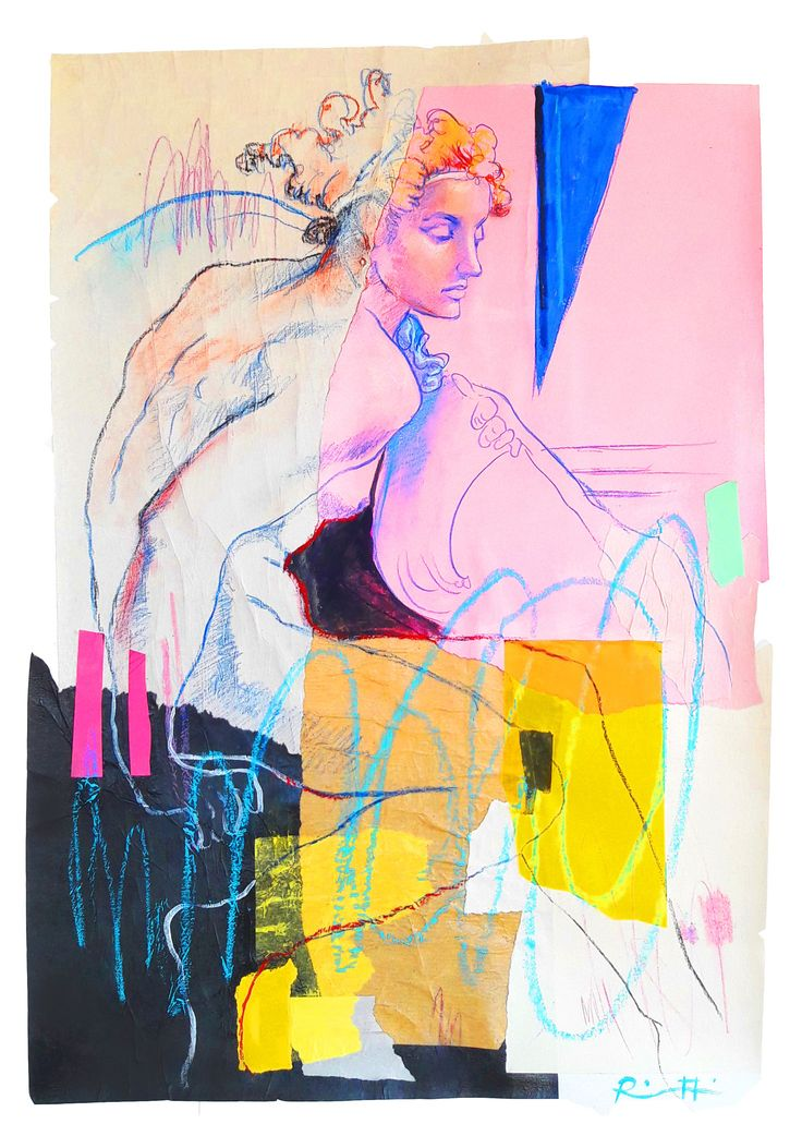 "Davide Ricchetti ""Naked on prophet Gioele"" ( detail of the Sistine Chapel) mixed media on canvas,cm 70x50, 2016"