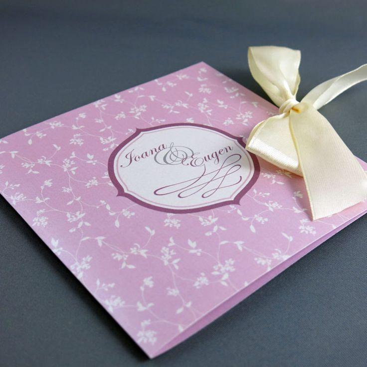 Invitaţie de nuntă Model floral roz http://designbyclarice.ro/