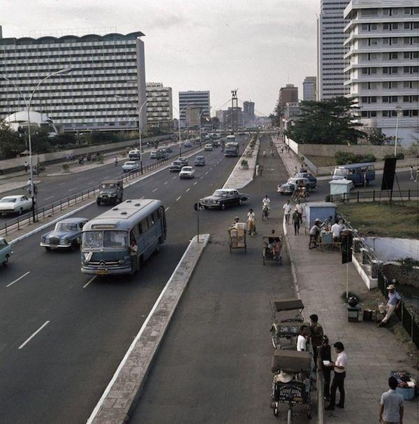 Sudirman Street near Bundaran HI, Jakarta, 1969