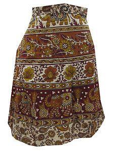 Mini Wrap Skirt Bohemian Cotton Wraparound Skirt FOR Women   eBay