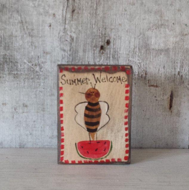 Primitive Country Bee Summer WelcomeBeeSummer DecorPrimitive BeeRustic
