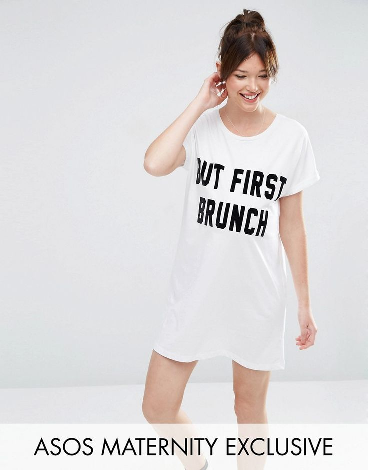 ¡Cómpralo ya!. Camiseta para dormir But First Brunch de ASOS Maternity. Vestido de noche de ASOS Maternity, Punto suave al tacto, Escote redondo, Manga corta, Eslogan estampado, Diseño para adaptarse a todas las etapas del embarazo, Lavar a máquina, 100% algodón. ACERCA DE ASOS MATERNITY Maternity dressing gets bumped up to next-level status with the ASOS Maternity edit. Designed by the London-based team to fit you from three months onwards, you can grow your wardrobe alongside your bump...