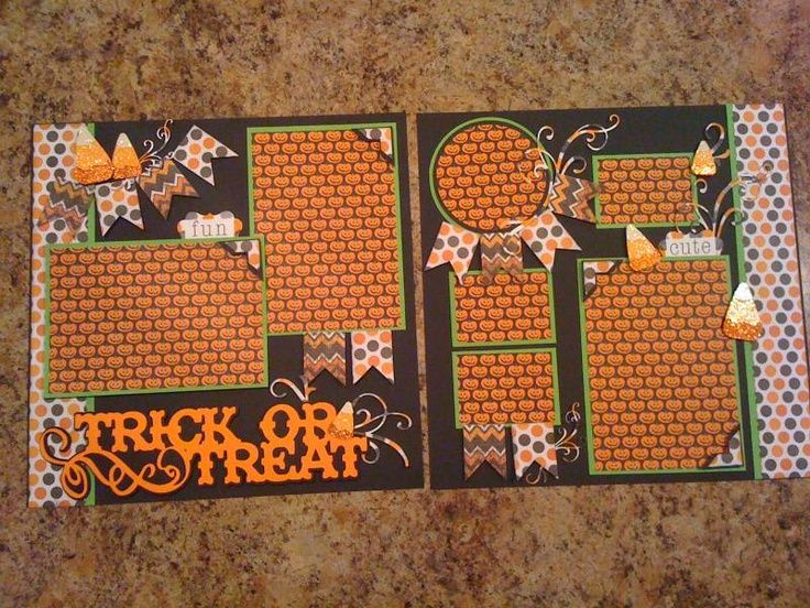 Halloween Layout, cricut title to see more layouts see my sketches board/// alter to be a holiday LO of your choice