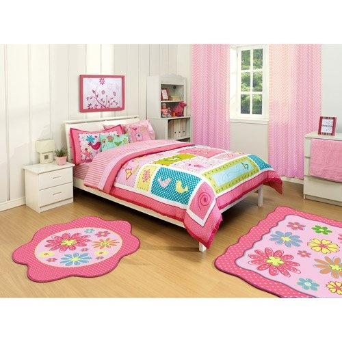Girl Bright Pink Green Purple Bird Nature Flower Polka Dot Twin Comforter & Sheet Set (4pc Set)