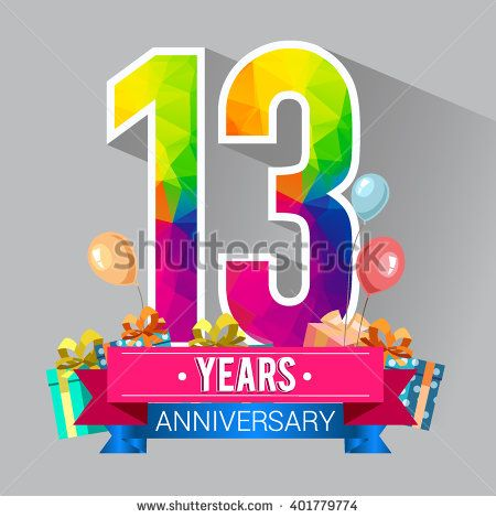 13 Years Anniversary celebration logo, 13th Anniversary celebration, with gift box and balloons, colorful polygonal design.