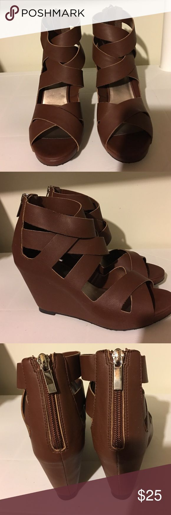 Like new Elle women shoes size 6.5 M Brown. Elle women shoes size 6.5 M Brown. I only wore once! They are too small for me. Smoke / Pet free home. Elle Shoes Platforms