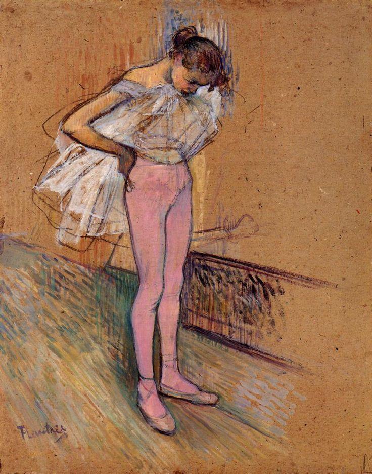 Dancer Adjusting Her Tights - Henri de Toulouse-Lautrec.