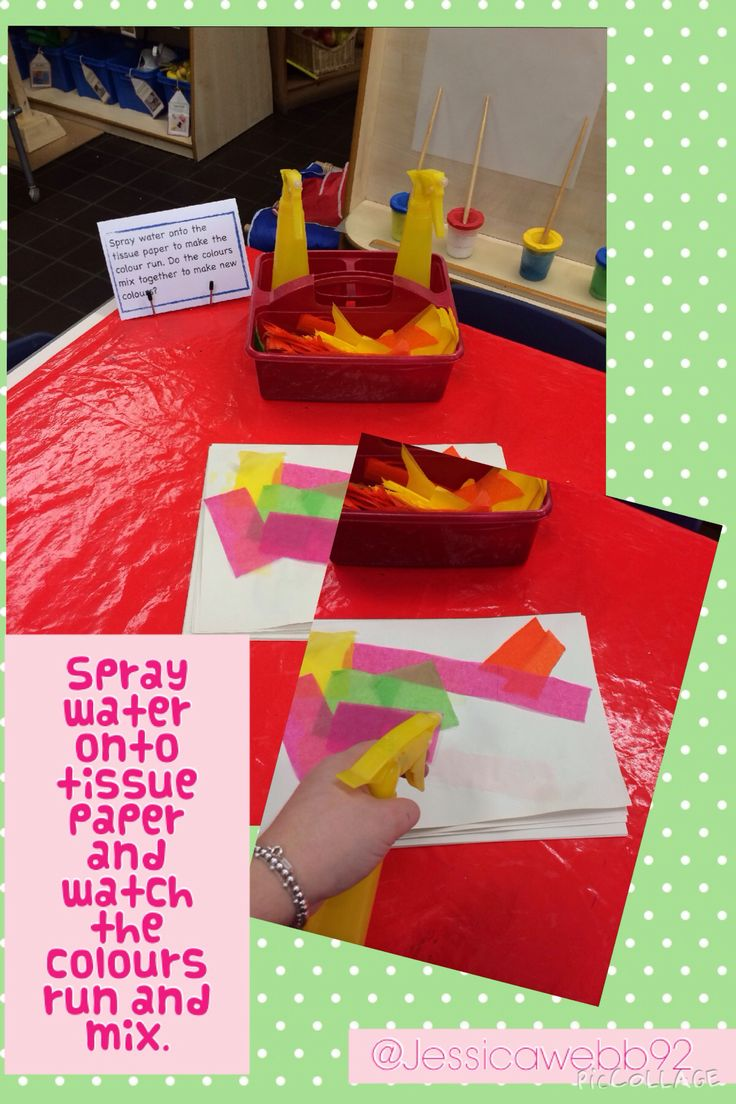 Spray water onto the tissue paper and watch the colours run. EYFS