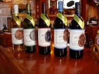 Award-winning wines from Bear Creek Winery in Alaska include, from left, the (creatively spelled) Sno Goose, Rhubarb, Raspberry, Blueberry and the Blueberry Mirlo.: Award Winning Wines, Bears, Alaskan Grown, Alaskan Beer, Alaska Include, Alaska Wineries