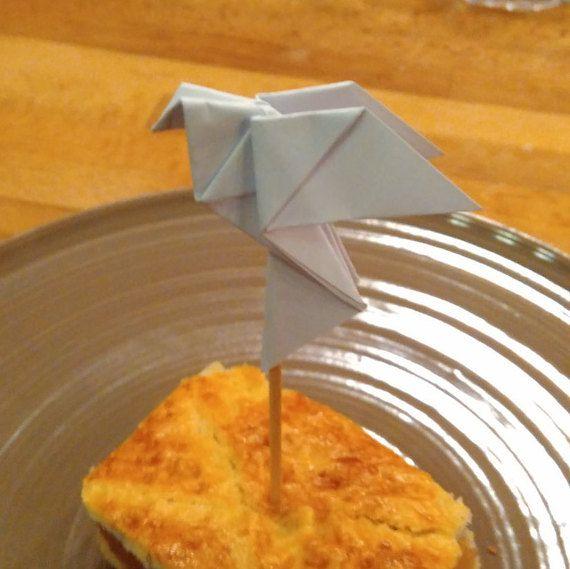 Dove cupcake topper origami cupcake topper by Handmadegiftbox