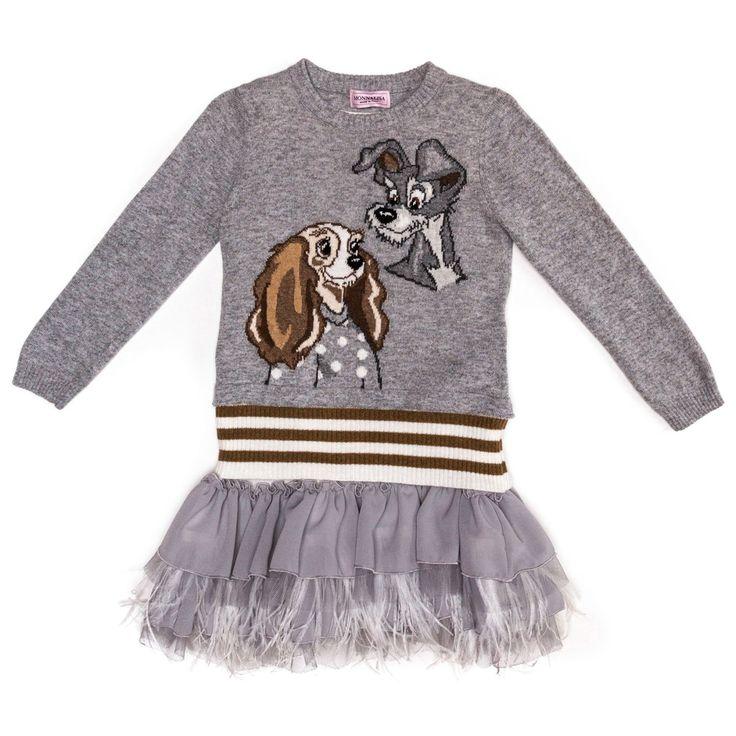 Monnalisa Bimba udsalg børnetøj Grå 2-delt strik og kjole sæt med Lady og Vagabonden tilbud børnetøj