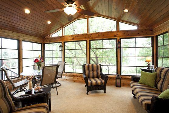 4 Season Carpeted Cedar Porch With Ez Screen Windows