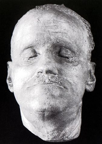 Death Mask of James Joyce  His death mask is on view at the James Joyce Tower and Museum in Sandycove, Dublin  A death mask is a wax or plaster cast made of a person's face following death.