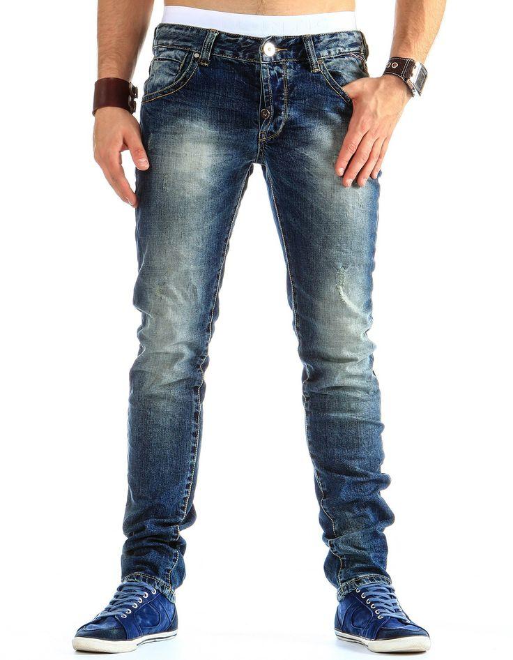 Męskie spodnie jeansowe - zapinane na guzik - idealne na co dzień - zobacz nasze inne nowości na dstreet.pl