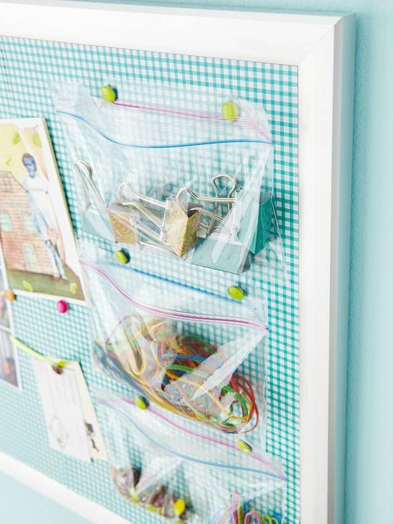 Sealable Bag Bulletin Board  A fabric-lined corkboard gets an easy update with small sealable plastic bags. Colorful pushpins hang clear bags filled with small trinkets and office supplies.  Editor's Tip: If your supplies are unsightly, hang small cloth bags instead.  Better Homes & Gardens