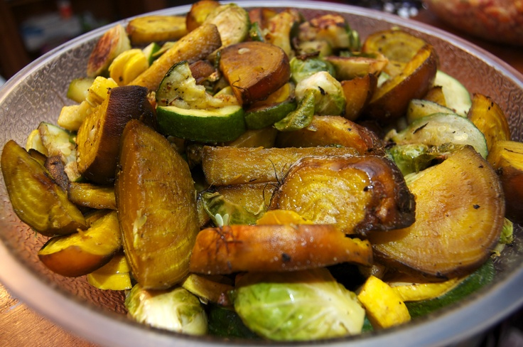 Oven roasted org. golden beets, Brussels sprouts, and green/yellow ...