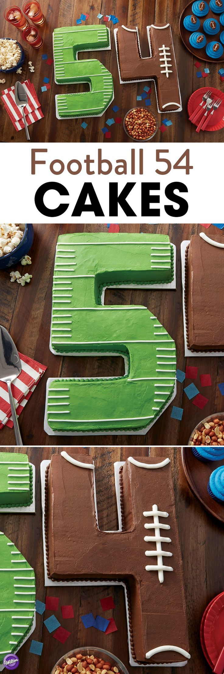 Football 54 Cakes - Win or lose, the favorite football player in your life will love these cakes featuring his jersey number. Any number easily becomes a cake using the Wilton Countless Celebrations Cake Pan Set, with special pan inserts and easy to follow illustrations. Best of all, any number can be easily decorated like the field and game ball, using icing tinted with the Wilton Color Right Performance Color System and the simple instructions below.