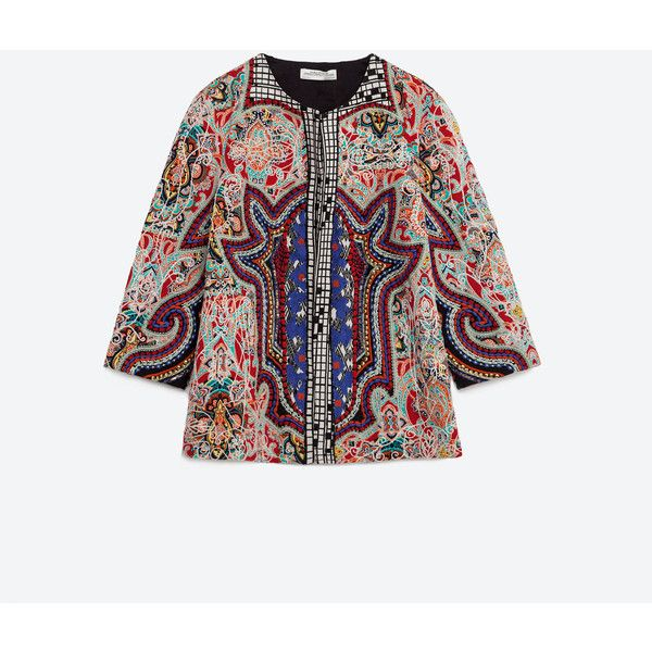 Zara Embroidered Jacket ($149) ❤ liked on Polyvore featuring outerwear, jackets, black, zara jacket, embroidered jacket, lined jacket and embroidery jackets