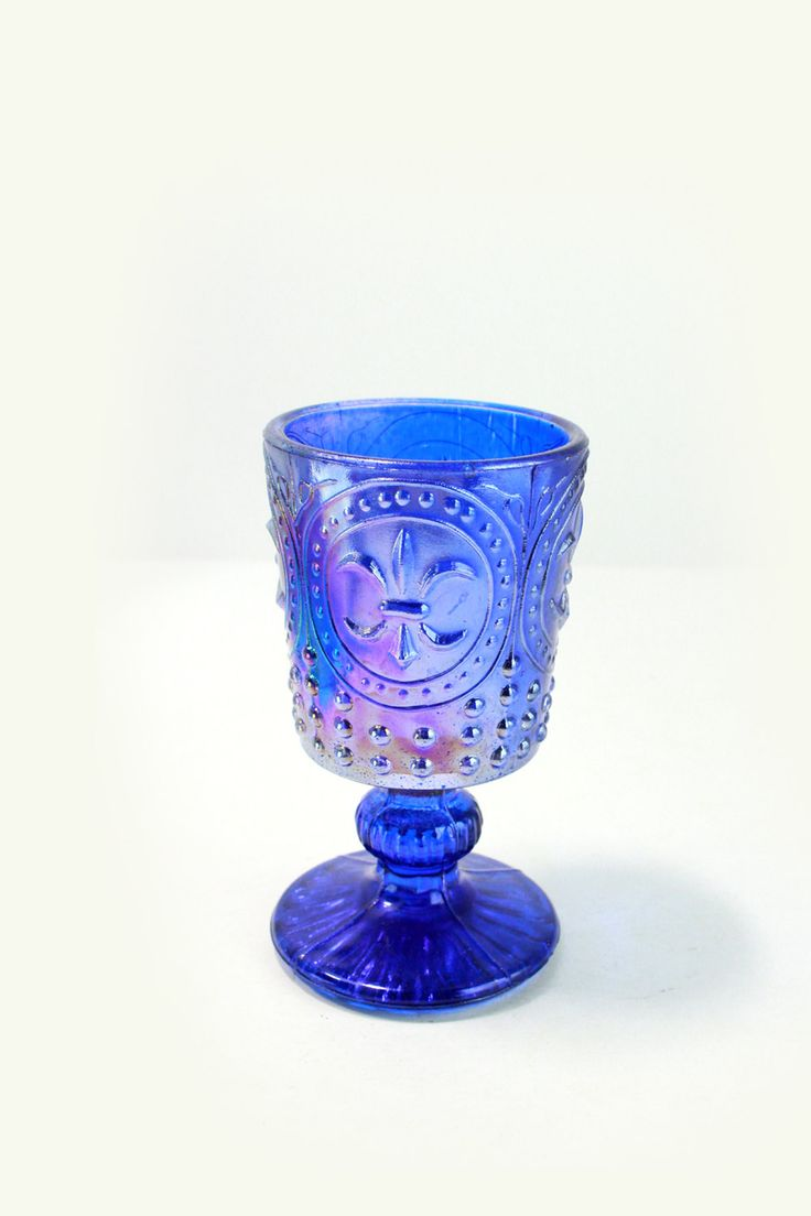 Blue Carnival Glass Hobnail & Fleur de Lis Stemmed Glass -Iridescent Candleholder, Wine, Antique Vintage EUC Depression- Succulent Planter by VintageLostButFound on Etsy